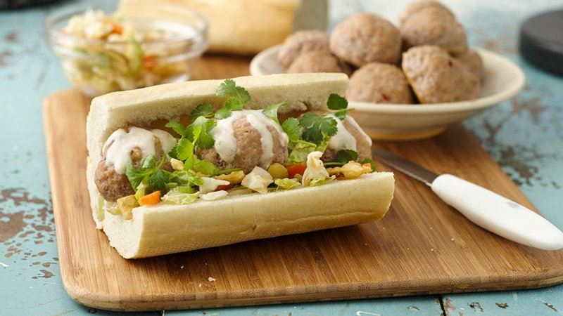 Meatball Banh Mi Baguettes