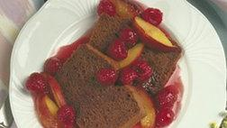 Cocoa Angel Cake with Peach Melba Sauce