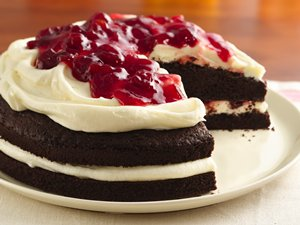 Gluten Free Cherries and Cream Devil's Food Cake