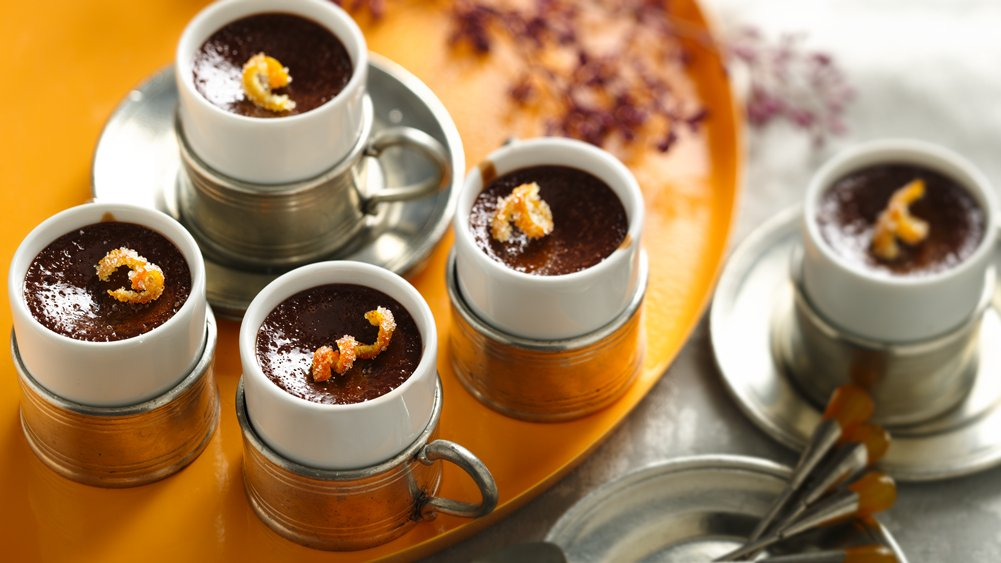 Chocolate Yogurt Pots de Creme with Candied Orange Peel