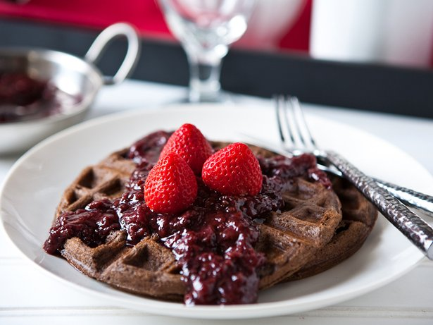 Chocolate Waffles with Slow Cooker Boozy Berries