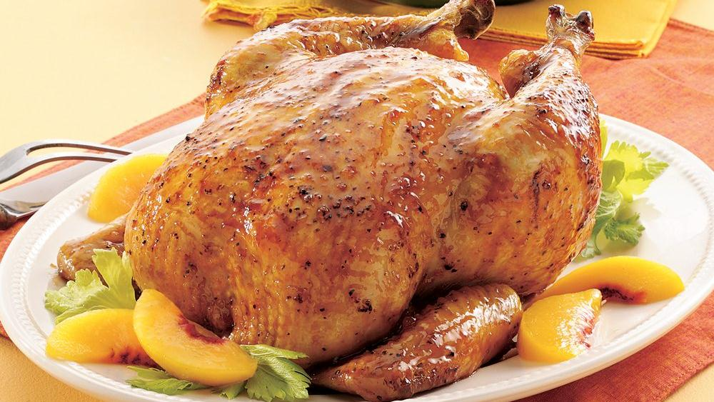 Roasted Chicken with Peach Gl