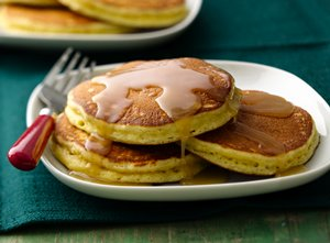 Eggnog&#32;Pancakes&#32;with&#32;Maple&#32;Butter&#32;Rum&#32;Drizzle