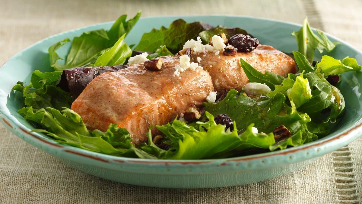 Cinnamon-Maple Glazed Salmon Salad - Life Made Delicious