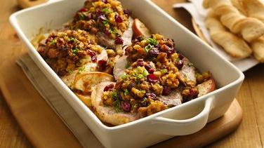 Pork Chops with Apples and Stuffing