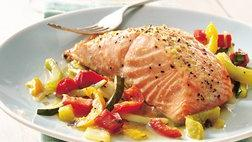 Gluten Free Basil Salmon and Julienne Vegetables