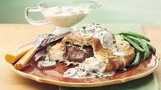 Wrapped Tenderloin with Gorgonzola-Mushroom Gravy Recipe