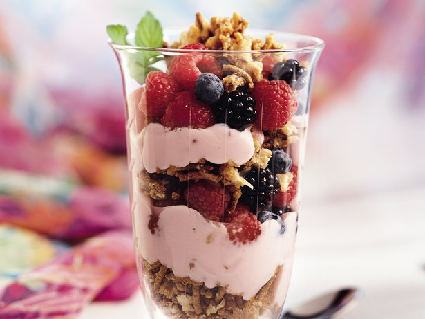 Mixed-Berry Butter Crunch Parfaits