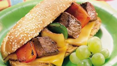 Grilled Philly Cheesesteak Kabob Sandwiches
