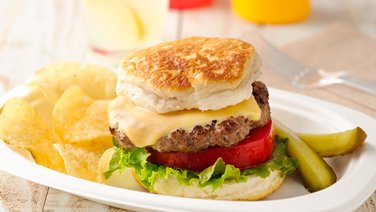 Grilled Biscuit Cheeseburgers