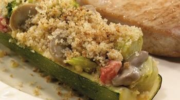 Cheesy Broccoli Stuffed Zucchini