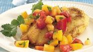 Cornmeal Chicken with Fresh Peach Salsa