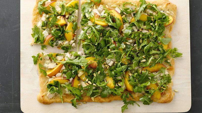 Peachy Chicken Pizza with Herb Salad