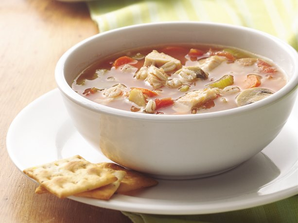 ... chicken, chicken broth, canned tomatoes and quick-cooking barley