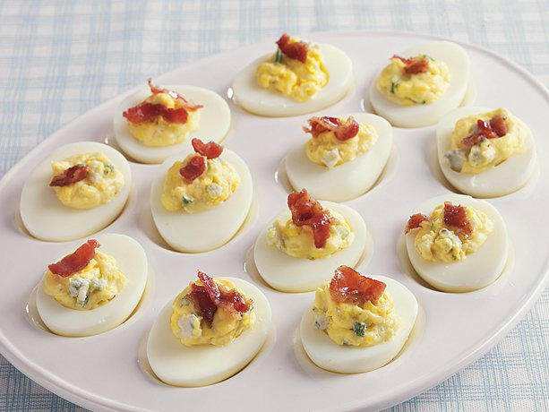 Blue Cheese Bacon Deviled Eggs