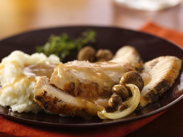 Dijon and Herb Turkey Breast with Mushroom Gravy