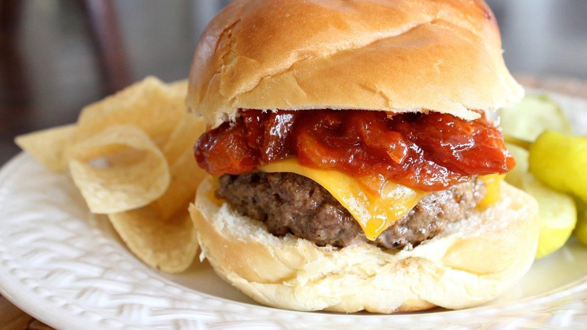 Steakhouse Cheddar Burger with Warm Bacon BBQ Sauce - Life ...