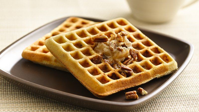 Pecan Cookie Waffles with Honey Cinnamon Butter