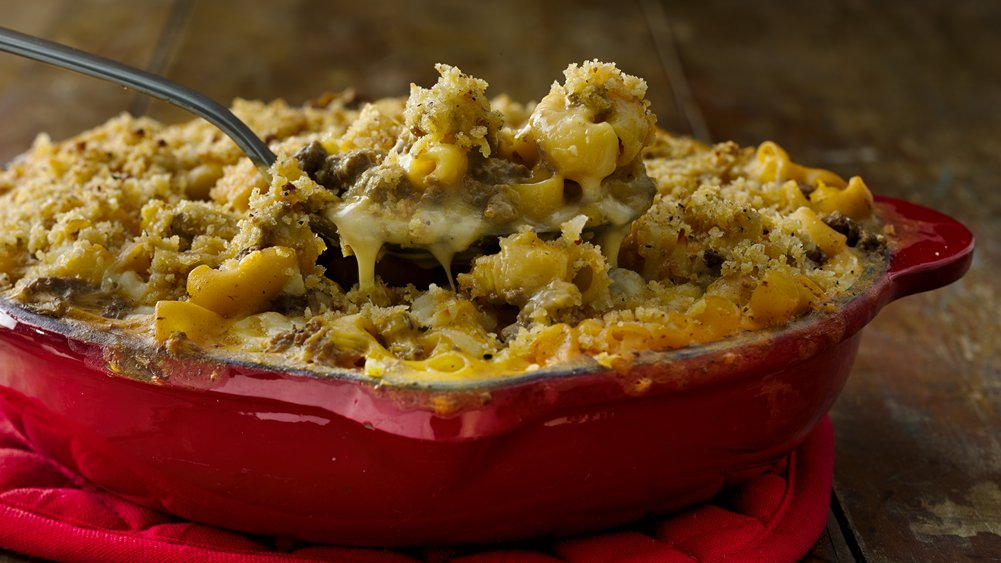 Crunchy Cheeseburger Mac Bake