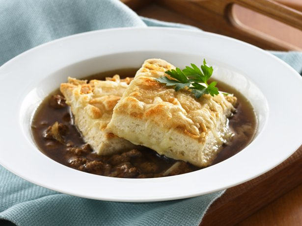 Beef and Onion Soup with Cheesy Biscuit Croutons