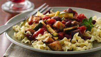 Eggplant and Zucchini with Pasta in a Greek Red Sauce