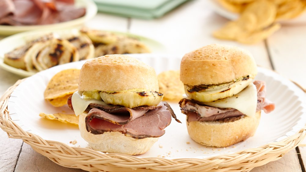 Grilled Onion and Roast Beef Sliders recipe from Pillsbury.com