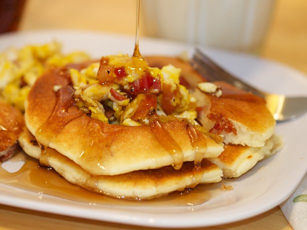 Eggs and Bacon Pancakes