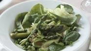 Healthified Spring Vegetable Salad Over Fresh Greens