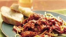 Slow Cooker Chunky Pork and Mushroom Spaghetti Sauce Recipe