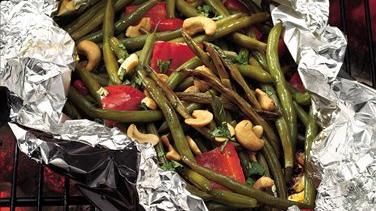 Grilled Teriyaki Green Beans with Cashews