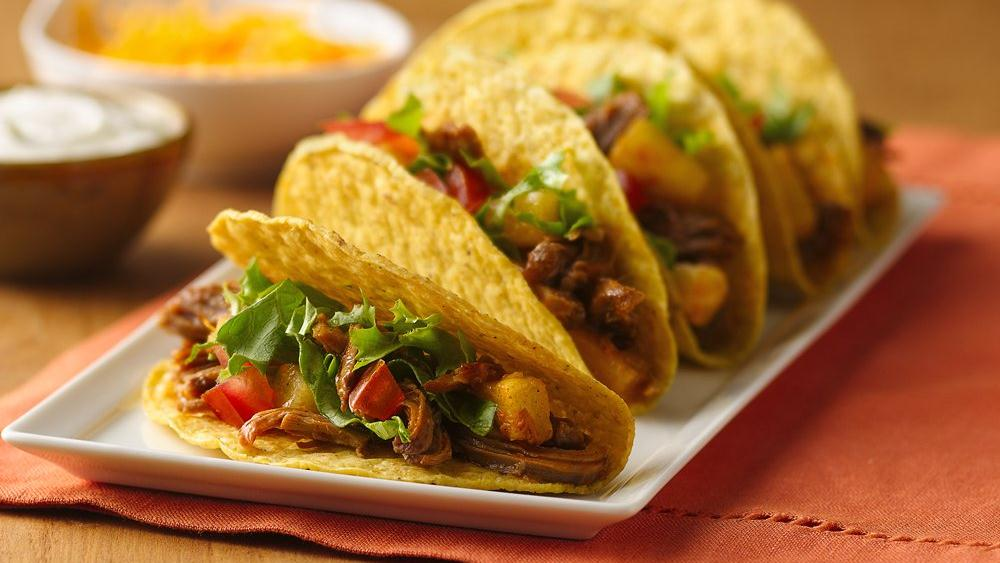 Slow-Cooker Pineapple-Pork Tacos recipe from Pillsbury.com