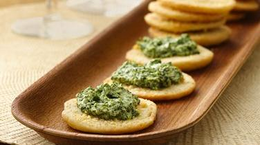 Parmesan Crostini with Spinach-Pesto Spread
