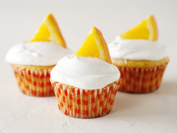 Belgian White Cupcakes with Orange Frosting