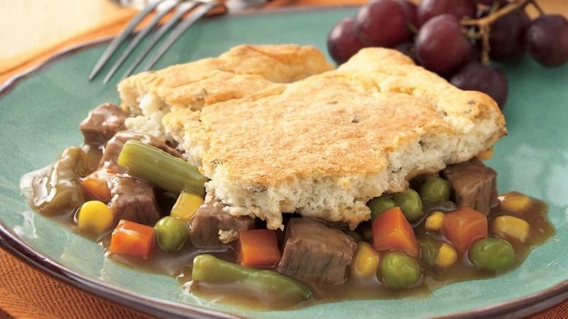 Beef Pot Pie with Potato Biscuit Crust recipe from Betty Crocker