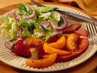 Pan-Fried Ham with Sweet Balsamic-Peach Sauce