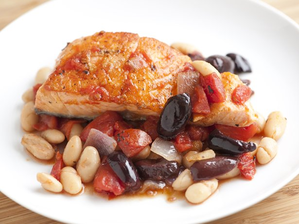 Salmon with White Beans and Tomatoes