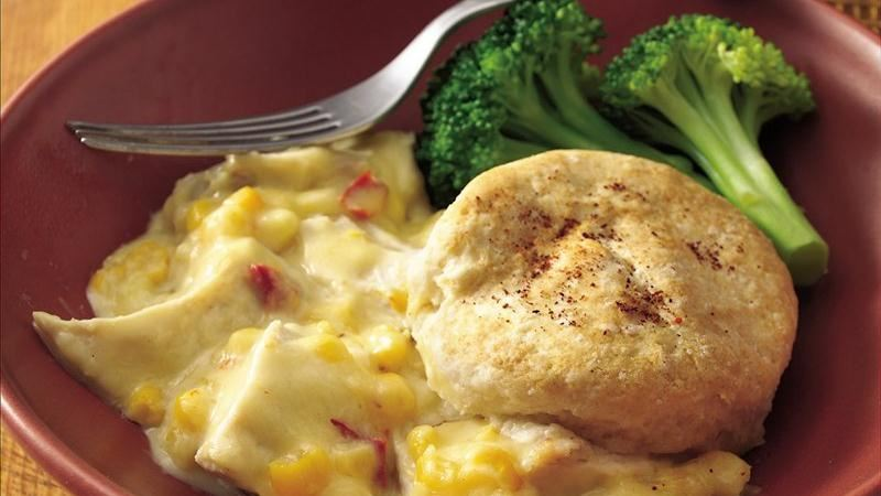 Biscuit-Topped Chicken and Cheese Casserole