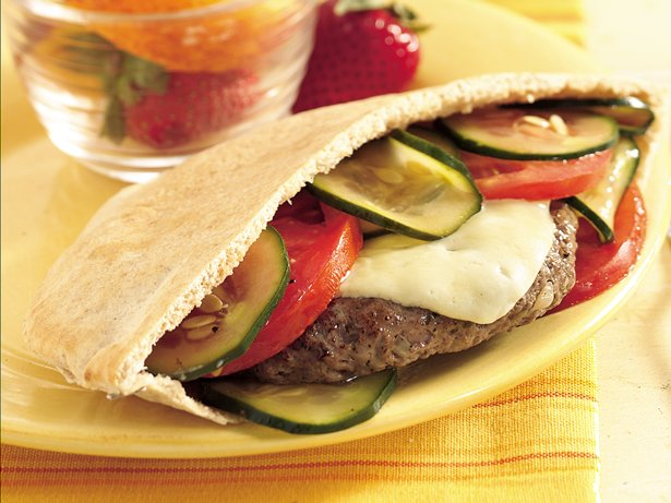 Grilled Havarti Burgers in Pitas
