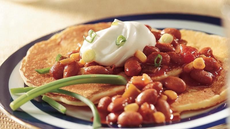 Cornmeal Pancakes with Chili Topping