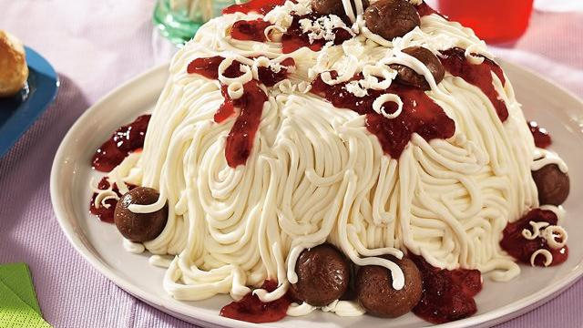 Image of April Fool's Spaghetti And Meatballs Cake, Pillsbury