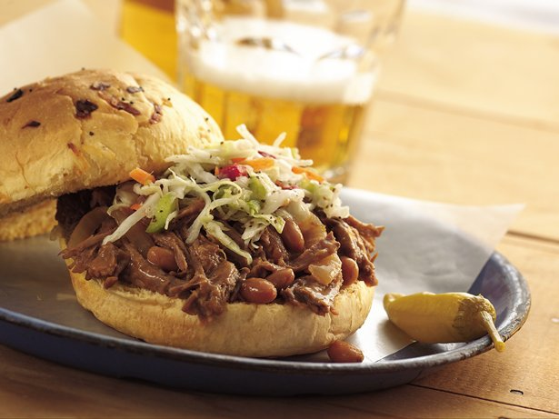 Slow Cooker Cowboy Beef and BBQ Bean Sandwiches