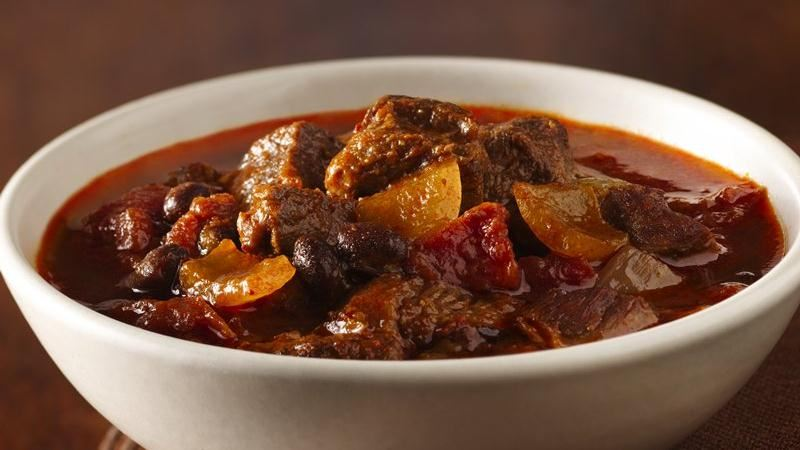 Slow-Cooker Three Chile Chunky Beef Chili