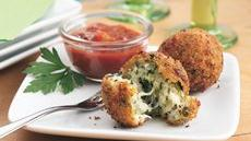 Spinach-Cheese Balls with Pasta Sauce Recipe