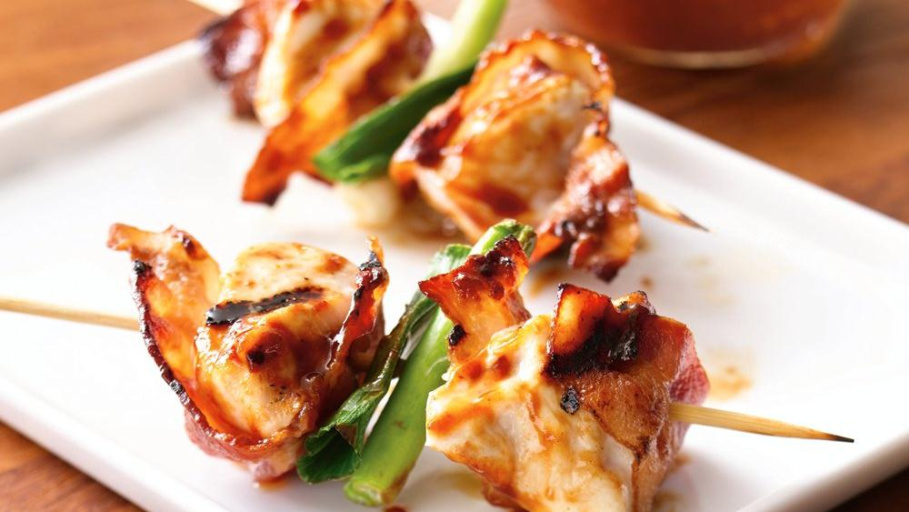 Grilled Barbecued Bacon-Chicken Skewer