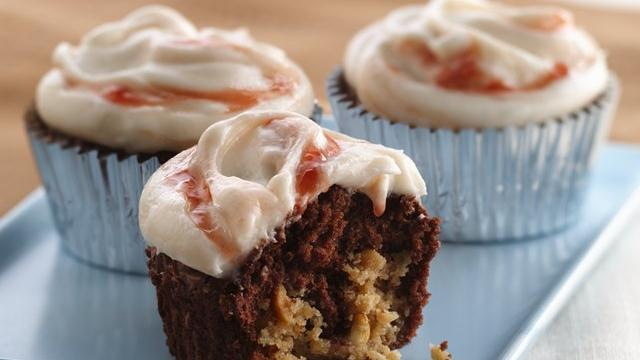 Strawberry Swirl-Peanut Butter-Brownie Cupcakes