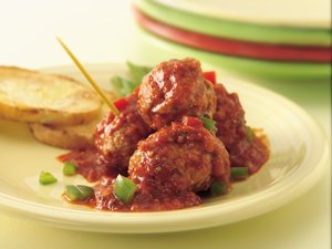 Slow Cooker Meatballs with Roasted Red Pepper Sauce