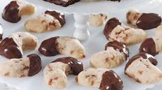 Chocolate-Dipped Almond-Toffee Moons Recipe