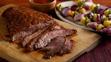Chipotle Glazed Grilled Flank Steak with Peppers and Pineapple