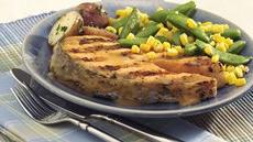 Grilled Salmon with Sugar Snaps and Corn Recipe