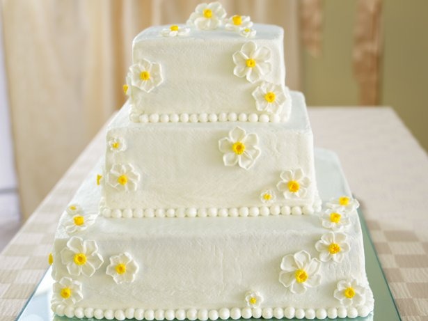 White Wedding Cake with Raspberry Filling